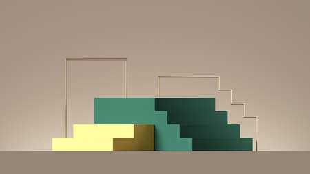 3d render, abstract beige background with yellow and green steps. Minimal showcase scene with empty pedestal for product presentation 写真素材