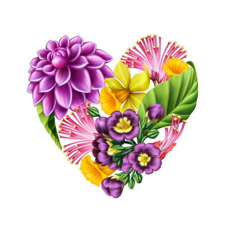 digital illustration of a heart symbol made of colorful garden flowers, Valentine day clip art isolated on white background