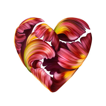 digital illustration of a heart symbol made of red tulip petals, Valentine day clip art isolated on white background 写真素材