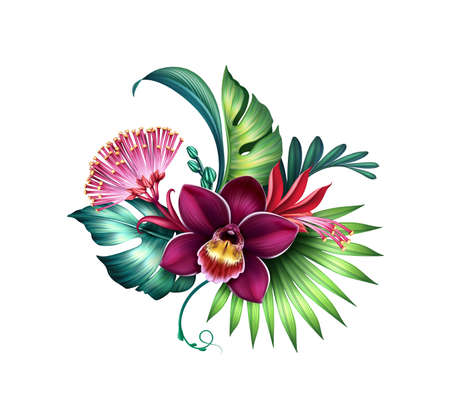 floral illustration of colorful bouquet with tropical orchid flowers and green palm leaves. Botanical design element isolated on white background