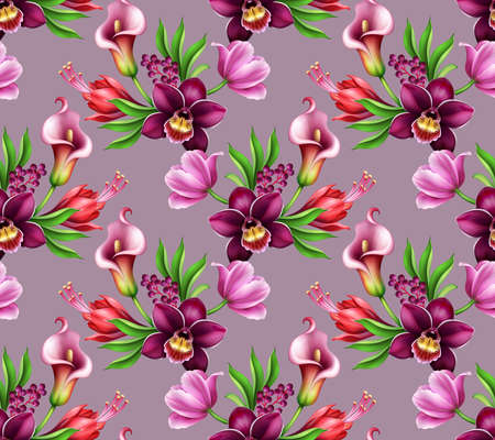 seamless floral pattern, assorted tropical flowers and leaves isolated on pink background