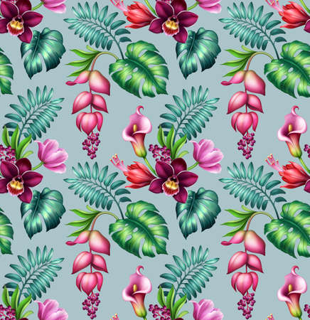 seamless tropical wallpaper with pink flowers and green palm leaves, botanical pattern