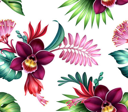 seamless floral pattern, assorted tropical flowers and leaves isolated on white background, wallpaper with orchids