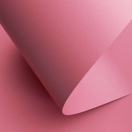 3d render, abstract background with pink paper scroll macro, page roll 写真素材