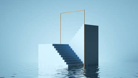 3d render, abstract pastel blue background. Modern showcase for product presentation, minimal scene with stairs and reflections in the water 写真素材