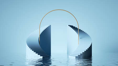 3d render, abstract pastel blue background. Minimal art deco showcase, modern scene with curvy stairs for product presentation, with reflections in the water