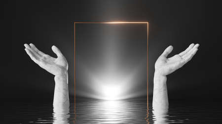 3d render, abstract black background with white marble hands, square golden frame, bright shining light and reflections in the water. Modern minimal showcase for product presentation