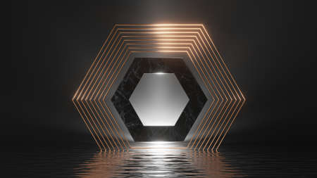 3d render, abstract geometric background. Modern minimal showcase for product presentation, simple dramatic scene with shiny golden frames, marble hexagon and reflections in the water