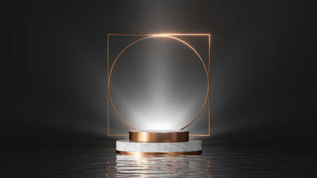 3d render, abstract black background. Modern minimal showcase for product presentation, dramatic art deco scene with empty marble stage, shiny golden geometric frame and reflections in the water