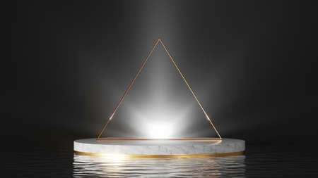 3d render, abstract minimal background, showcase with white marble podium, shiny light, golden triangular frame and reflections in the water. Simple product display stand for product presentation.