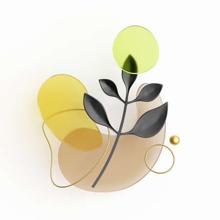 3d render, abstract composition with black paper leaf, golden wire and colorful glass shapes isolated on white background