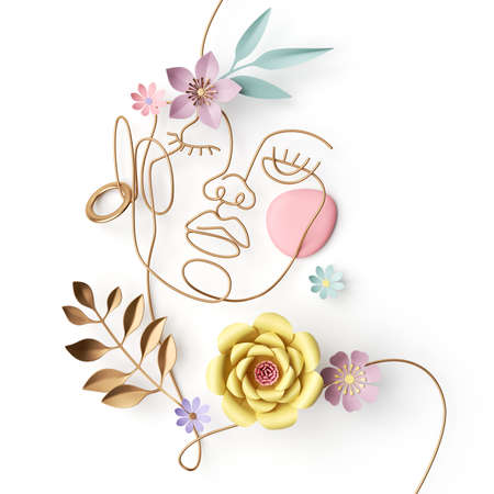 3d render of an abstract woman portrait. Female face made of golden wire and paper flowers and leaves, simple linear art isolated on white background