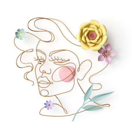 3d render of an abstract woman portrait. Linear art of a female face made of golden wire and paper flowers and leaves, isolated on white background