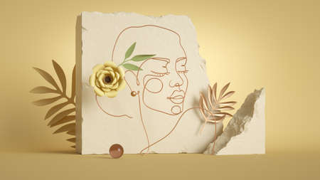 3d render, line art portrait of a beautiful woman made of golden wire. Broken cobble stones, concrete blocks, rocks, paper flowers and tropical leaves. Modern minimal scene with yellow background 写真素材