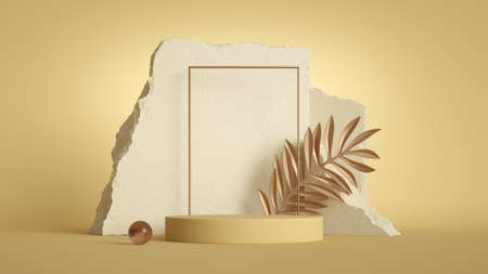 3d render, abstract background with stone ruins, square frame, empty podium and tropical golden leaf isolated on sunny yellow background. Modern minimal showcase scene for product presentation