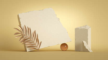 3d render, abstract background with stone ruins and tropical golden leaf isolated on sunny yellow background. Modern minimal showcase scene for product presentation