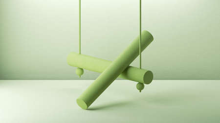 3d render, green background with abstract minimal geometric composition with cylinders 写真素材