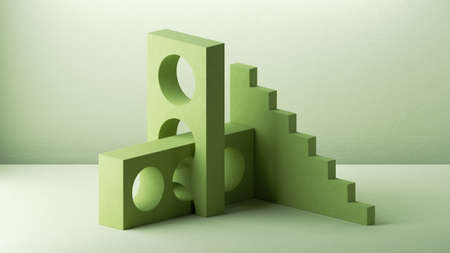 3d render, abstract green background with geometric composition. Minimal showcase scene for product presentation