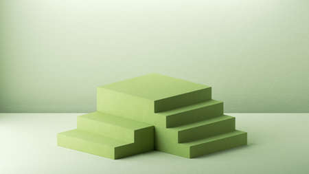 3d render, abstract green background with empty pedestal and steps. Minimal showcase scene for product presentation