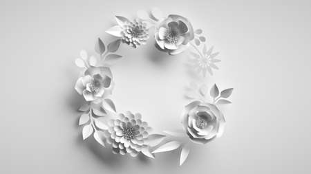 3d render, abstract white background with round wreath of paper flowers and leaves, floral greeting card template, paper craft, botanical wallpaper