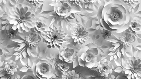 3d render, abstract white background with paper flowers and leaves, floral pattern, botanical wallpaper
