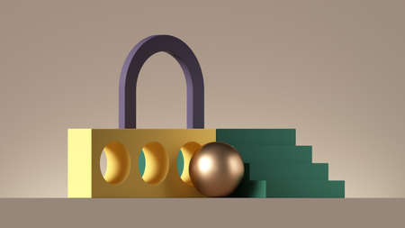 3d render, abstract colorful background with geometric composition. Playground with steps, blocks and arch. Modern showcase scene for product presentation 写真素材
