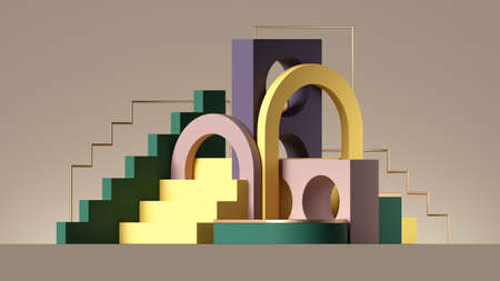 3d render, abstract geometric background with colorful elements. Modern showcase scene with empty podium for product presentation 写真素材