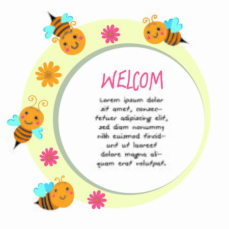Invitation bee vector. Banner for children birthday congratulation
