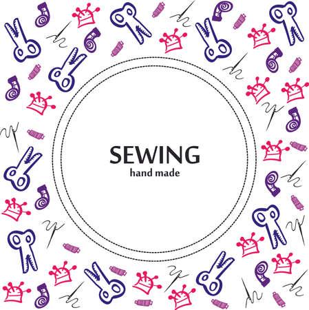Needlework accessories - needle, scissors seamless patterns. Vector