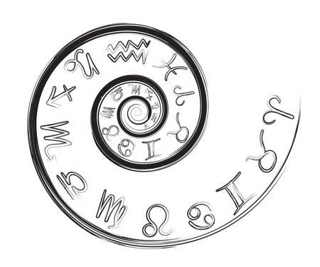 Zodiac signs set isolated on a white background. Signs of a star for an astrological horoscope. Astrological calendars collection