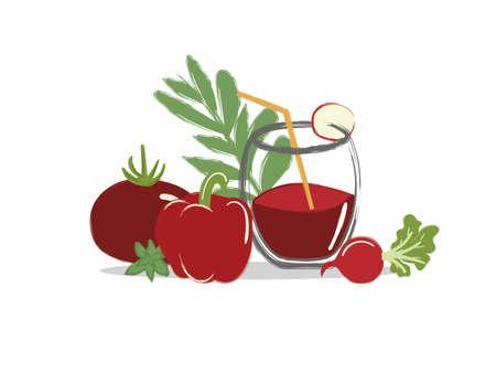 a glass of freshly squeezed juice from vegetables with a straw with sprigs of greens, tomato, pepper, radish Illustration