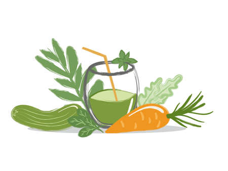 a glass of freshly squeezed juice from vegetables with a straw with sprigs of greens, carrots, cucumber, mint