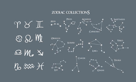 A collection of 12 zodiac signs with names. Vector constellations set