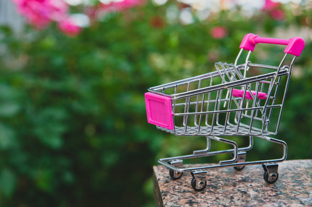 pink miniature shopping cart on blurred background of the garden