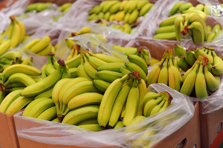 Ripe bananas on boxes in the supermarket