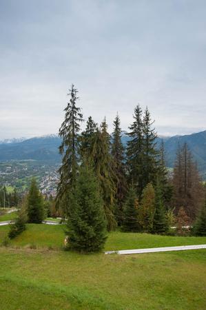 View on Zakopane Tatras Mountains from Gubalowka, Poland 2018 Stock Photo - 115530039