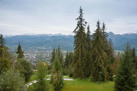 View on Zakopane Tatras Mountains from Gubalowka, Poland 2018 Stock Photo - 115530048