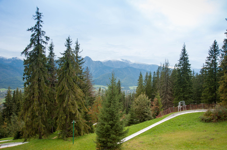 View on Zakopane Tatras Mountains from Gubalowka, Poland 2018 Stock Photo - 115530049