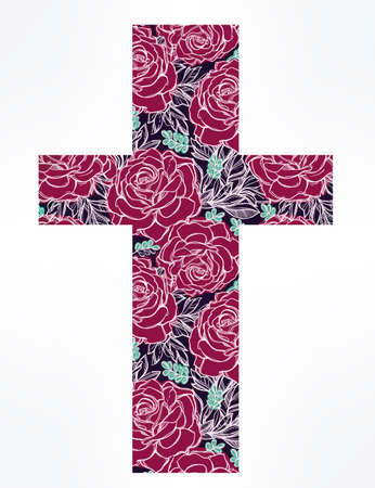 pink flowers: Hand drawn cross with beautiful flowers inside, boho chick and hipster cross sign. Isolated vector illustration on white background. Ideal for t-shirts, textiles and paper work. Illustration