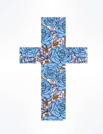paper work: Hand drawn cross with beautiful flowers inside, boho chick and hipster cross sign. Isolated illustration on white background. Ideal for t-shirts, textiles and paper work.