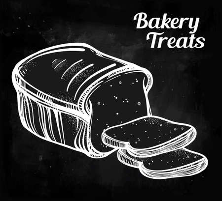 toast: Baker shop bread icon in vintage style. Hand drawn highly detailed pastry product. Isolated vector illustration.