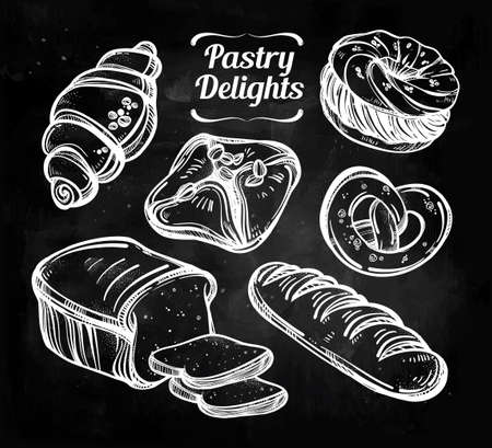 pita bread: Hand drawn highly detailed pastry products. Isolated vector illustration. Food elements. Excellent template for creating your menu design.