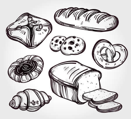 food products: Hand drawn highly detailed pastry products. Isolated vector illustration. Food elements. Excellent template for creating your menu design.