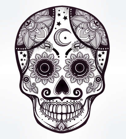 all saints day: Hand drawn Day of the Dead holiday - Dia de los Muertos in Spanish - sugar skull.  Vintage style Hispanic folk spiritual art. All Saints Holiday mascot. Isolated vector illustration. Illustration