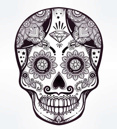 skull design: Hand drawn Day of the Dead holiday - Dia de los Muertos in Spanish - sugar skull.  Vintage style Hispanic folk spiritual art. All Saints Holiday mascot. Isolated vector illustration. Illustration