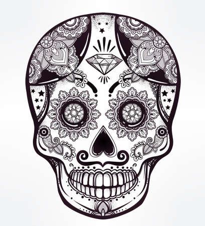 Hand gezeichnet Tag der Toten Feiertag - Dia de Los Muertos in Spanisch - Zuckerschädel. Vintage-Stil Hispanic Volks geistlichen Kunst. All Saints Urlaub Maskottchen. Isolierten Vektor-Illustration.