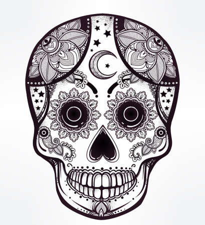 Hand drawn Day of the Dead holiday - Dia de los Muertos in Spanish - sugar skull.  Vintage style Hispanic folk spiritual art. All Saints Holiday mascot. Isolated vector illustration. Illustration