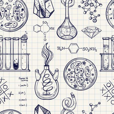 papel de notas: Ciencia y educaci�n sin patr�n. Dibujado a mano iconos de laboratorio vendimia bocetos. Ilustraci�n vectorial aislado. Ciencia laboratorio objetos estilo de dibujo. Volver a la escuela. Vectores
