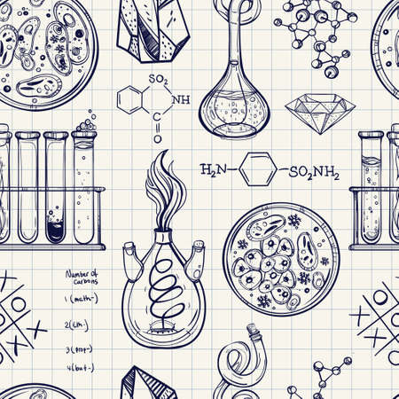 science scientific: Science and education seamless pattern. Hand drawn vintage laboratory icons sketches. Isolated Vector illustration. Science lab objects doodle style. Back to school. Illustration