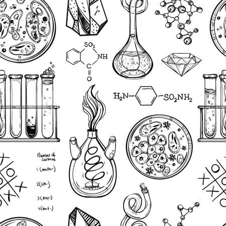 biology backgrounds: Science and education seamless pattern. Hand drawn vintage laboratory icons sketches. Isolated Vector illustration. Science lab objects doodle style. Back to school. Illustration